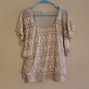Studio Y tan/gold shimmer top!